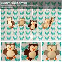 Starry Night Owls Felt Baby Mobile