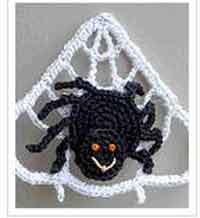 Spider on Web Crocheted Pin