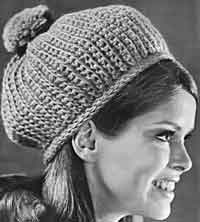 Crocheted Pom Pom Hat