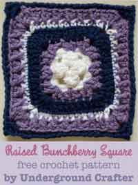 Raised Bunchberry Crochet Square Pattern
