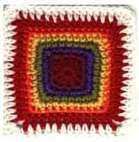 6 inch Rainbow Crochet Square