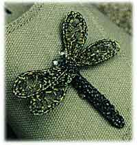 Dragonfly Pin, Crocheted