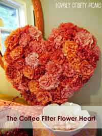 Coffee Filter Flowers Valentine's Heart Tutorial