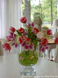 Easter Tulip Centerpiece in Double Bowl Vase