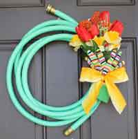DIY Garden Hose Spring Wreath