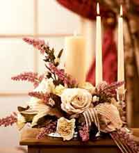 Candle Floral Arrangement Wedding Centerpiece