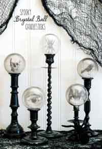 spooky crystal ball halloween candlesticks - Halloween Craft Ideas For Adults