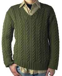 Ben - Easy Mens Cabled V-neck Pullover
