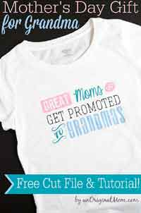 Great Moms Get Promoted to Grandmas Free T-shirt Design