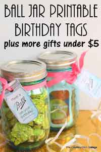 Ball Jar Printable Birthday Tags