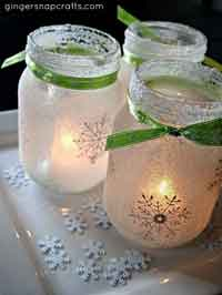 White Christmas Mason Jar Luminaries