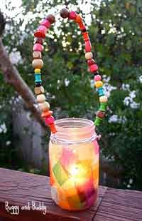 Colorful Mason Jar Lantern with Beaded Handle