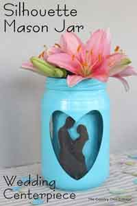 Silhouette Mason Jar Wedding Vase