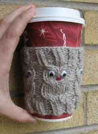 Knit owl coffee cup cozy pattern
