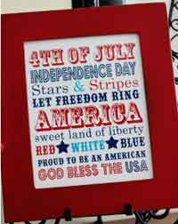4th of July Word Art Free Printable