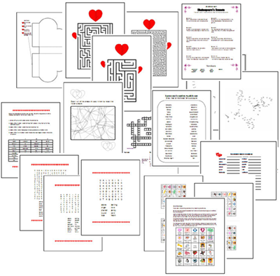 photo regarding Valentine's Day Crossword Puzzle Printable named Valentines Working day Printable Video games, Puzzles and Crafts