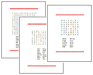 Valentine's Day Printable Games, Puzzles and Crafts