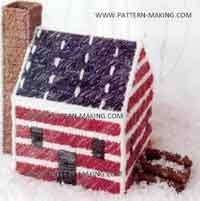 Red, White and Blue Log Cabin