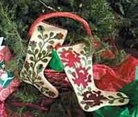 Wool Felt Applique Christmas Stockings