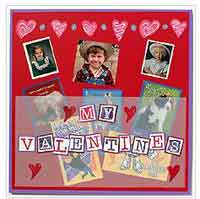My Valentine Cards Scrapbook Page