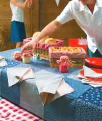 patchwork tablecloth & napkins