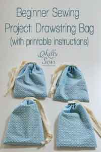 Beginner Sewing Projects – A Drawstring Bag Tutorial