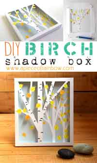 DIY Fall Printable Birch Shadow Box
