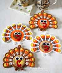 Crochet Turkey Coasters Pattern