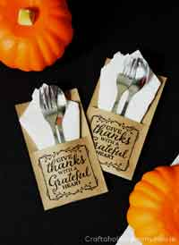 Thanksgiving Free Printable Utensil Holder