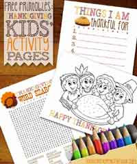 Free Printable Thanksgiving Kids Activity Pages