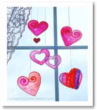 """Stained Glass"" Hearts"