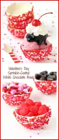 Sprinkle-Coated White Chocolate Bowls