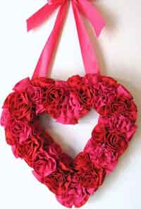Gathered Fabric Roses Valentine Heart Wreath