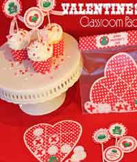 Valentines Day Classroom Favors and Cupcake Wraps and Toppers