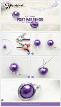 How to make post earrings out of common 6mm bead and 18 gauge wire