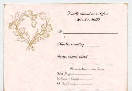 The response card is made of the same pink cardstock stamped with a heart