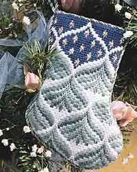 Bargello Pine Trees Stocking - needlepoint