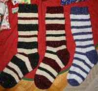 Knitted Striped Christmas Stocking