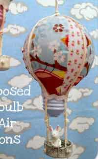 Recycled Light Bulb Hot Air Balloon Ornament
